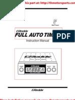 Greddy Full Auto Turbo Timer Manual