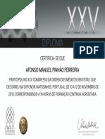 Diploma de participação no XXV Congresso da OMD, de 10 a 12 de Novembro de 2016