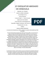 Pase de Ley Exequatur Abogado en Venezuela
