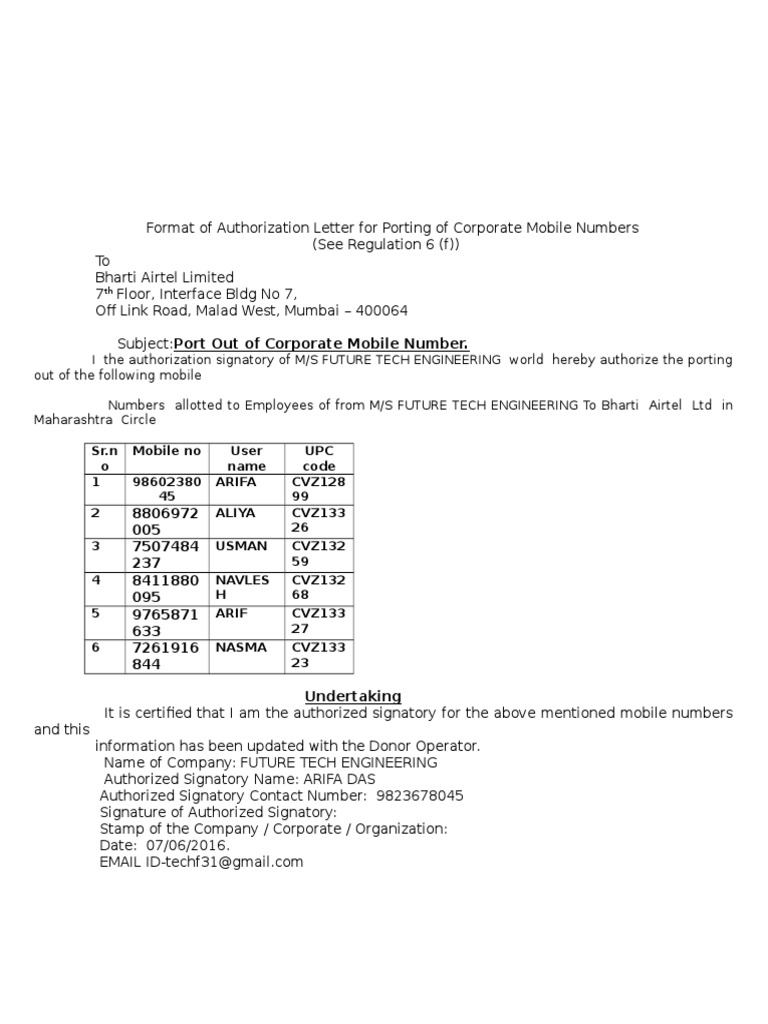 Format of Authorization Letter for Porting of Corporate
