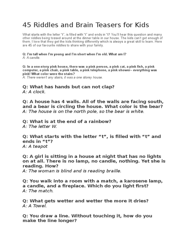 45 Riddles and Brain Teasers for Kids | Sports | Leisure