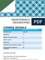 Maintenance Engineering Lec 01