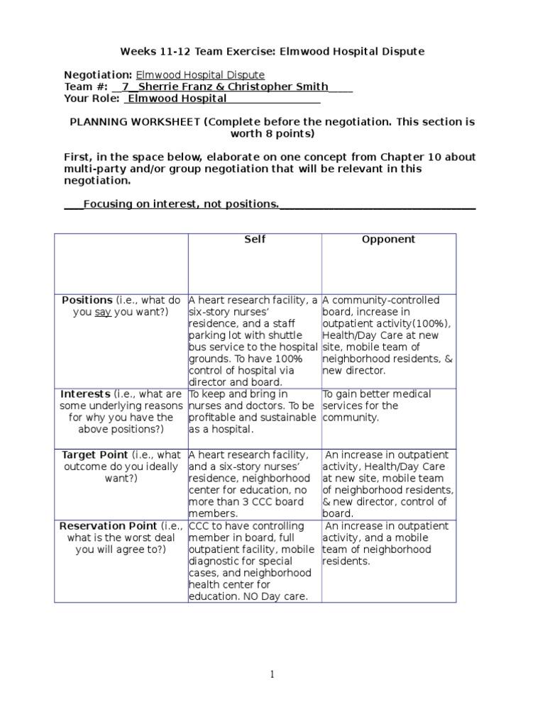 Worksheets Negotiation Worksheet weeks 11 pair ab negotiation patient