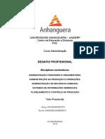 Desafio Administração Pronto Anhanguera 5 e 6 Semestre Agropecuária...