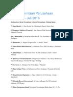 LP3i - Data Permintaan Perusahaan - Januari-Juli 2016