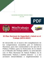 Plan Nacional de Seguridad y Salud en El Trabajo