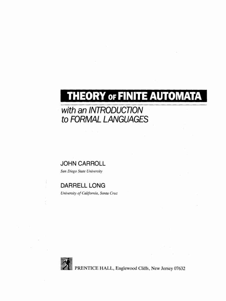 Theory of Finite Automata With a Introduction to Formal