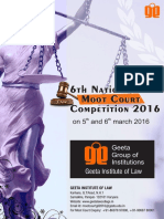 Moot Problem for the national moot court competition.  Geeta Institute of Law.