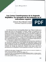 Las Cortes Constituyentes de la Segunda República. Un escenario de las tensiones en el radicalismo español