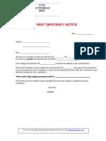 Rent Deficiency Notice, for partial rent payments