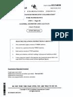 June 2015 CAPE Pure Mathematics U1 P2