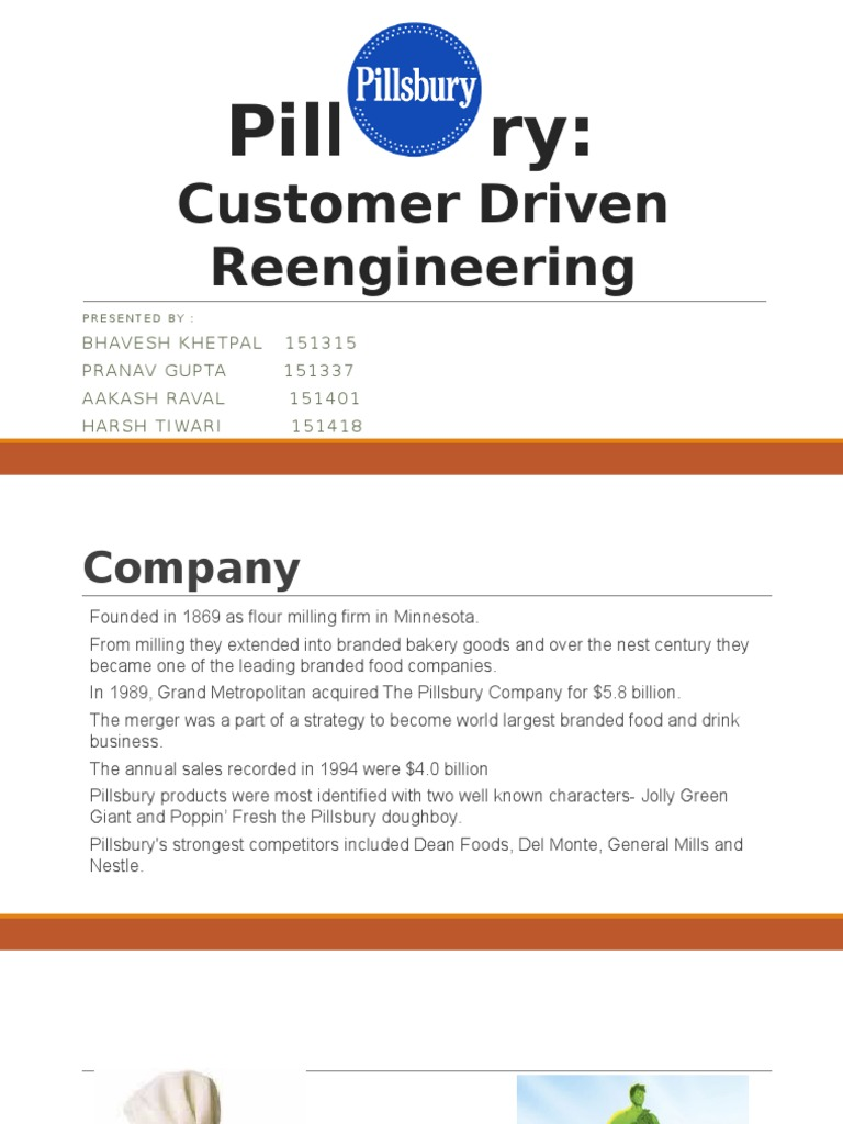 pillsbury customer driven reengineering Pillsbury: customer driven reengineering instruction: go to the link below and make a purchase of the case study note that everyone in the group is required to have.