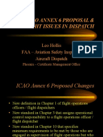 The FAA ICAO Annex 6 Proposal and Oversight Issues in Dispatch