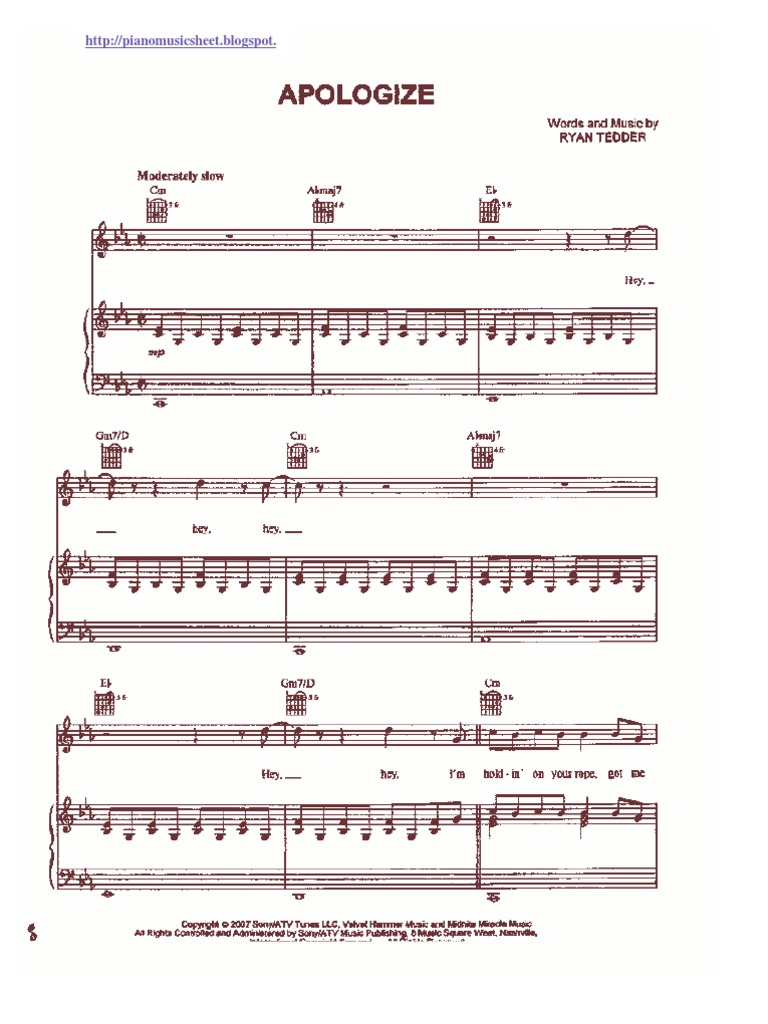 Apologize sheet music hexwebz Choice Image