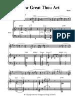How Great Thou Art Piano Tenor Sax Score