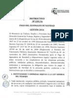 INSTRUCTIVO-239-16 PAGO DE AGUINALDO DE NAVIDAD GESTIÓN 2016