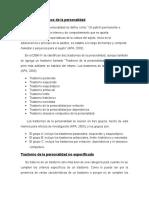 Resumen Trastornos de La Personalidad Diego Bermúdez - Ignacio Pérez