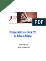 O Código de Processo Civil de 2015 e a Justiça Do Trabalho