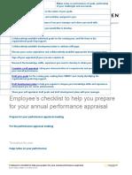 Employee Checklist for Performance Appraisals