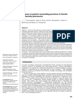 Progress in Patient Counselling Practices in Finnish Community Pharmacies