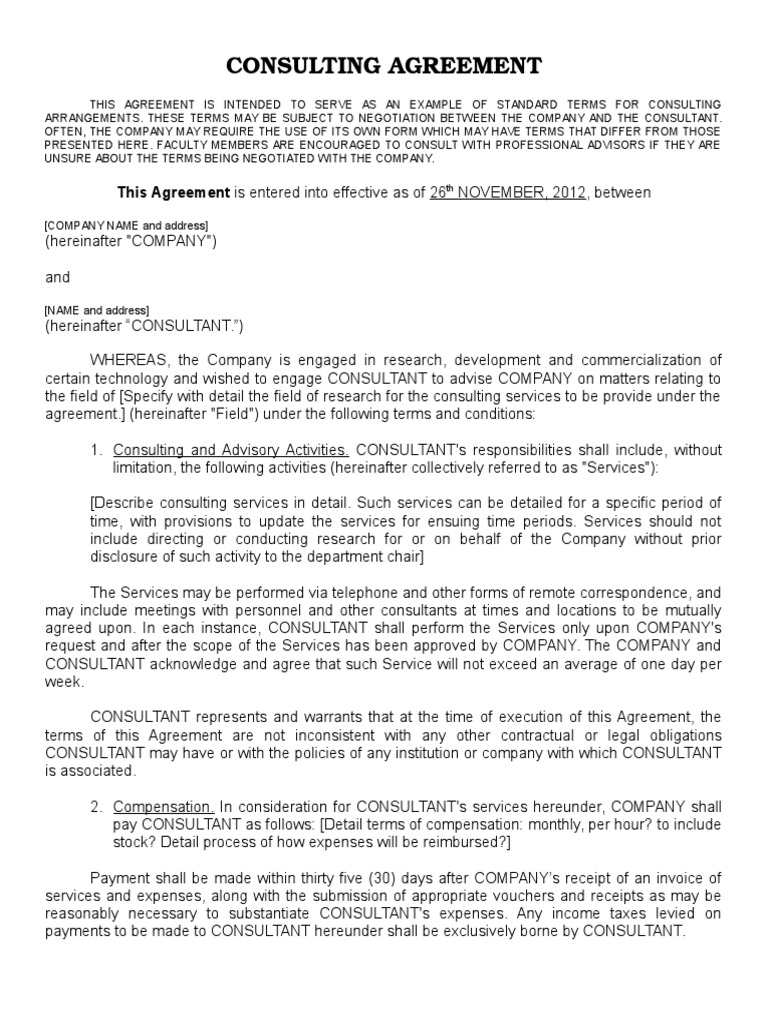 Consulting Agreement Fahmi And Wanfi Indemnity Invention