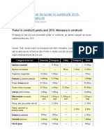 Preturi Pe Categorii de Lucrari in Constructii 2015