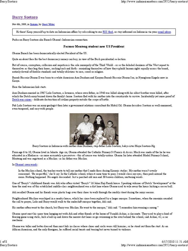 Indonesian News Site Reports Barry Soetoro Born In Kenya 2008
