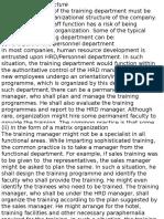 Orgnazing Training Department