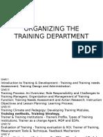 Organizing the Training Program