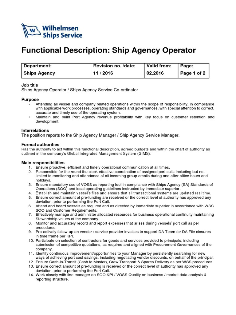 FD Ships Agency Operator 2016 _OM | Regulatory Compliance