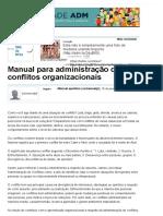 Manual Para Administração de Conflitos Organizacionais - Artigos - Carreira - Administradores
