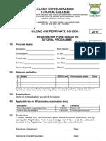 Enrolment Form - 2017 - Grade 10
