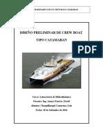 Diseño Preliminar Crew Boat Catamaran