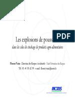 Les Explosions de Poussières Dans Les Silos, InERIS