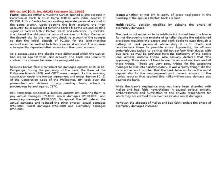 Bpi Vs Iac Negligence Public Law