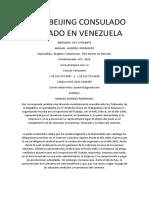 China Beijing Consulado Abogado en Venezuela