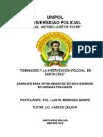 Monografía Feminicidio y La Intervención Policial en Santa Cruz