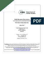 PhD Comparative Gender Studies Handbook 2016-2017