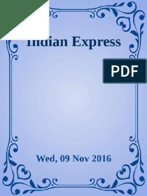 Indian Express [Wed, 09 Nov 2016] | Indian Black Money