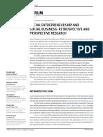 Social Entrepreneurship and Social Business - Retrospective and Prospective Research