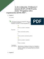 """Evidencia 3 (de Conocimiento) RAP1_EV03 Prueba de Conocimiento """"Preguntas Sobre Organización Del SG-SST""""."""