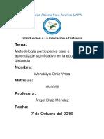 Metodología Participativa Para El Aprendizaje Significativo en La Educación a Distancia