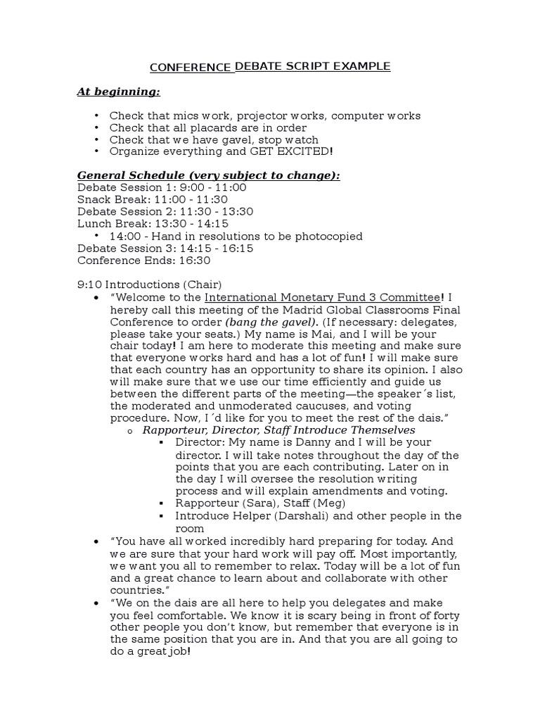 gc conference detailed script schedule example | Caucus ...