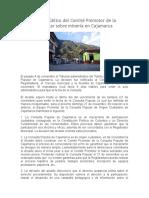 Comunicado Público Del Comité Promotor de La Consulta Popular Sobre Minería en Cajamarca