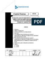 Control Externo - Declaración Anual de Independencia y Adhesion Al Codigo de Ética Del Auditor Gubernamental de La Contraloria General de La Republica y de Las Unidad