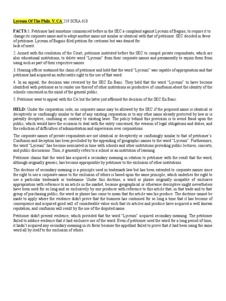 Lyceum Of The Phils V Ca Trademark Distinctiveness Trademark