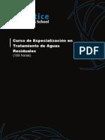 Curso de Especializacion en Tratamiento de Aguas Residuales Programa