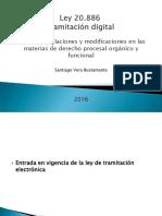 Ley 20.886 sobre tramitación digital y electrónica de los procedimientos judiciales