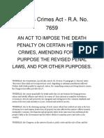 Heinous Crimes Act - R.a. No. 7659