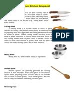 Basic Kitchen Equipment Final